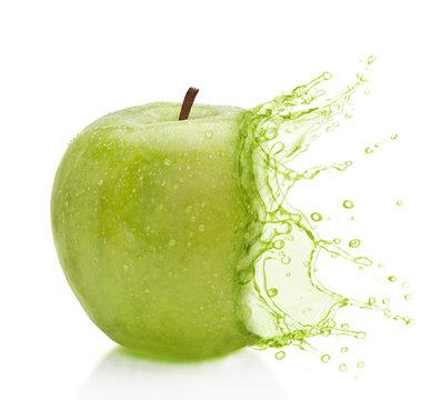 Manzana verde splash, agua