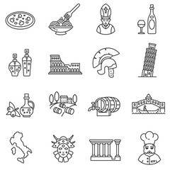 Italy icons set. Tourism and attractions, thin line design. Symbols of the country. isolated vector illustration.