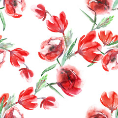 Flowers Seamless Pattern. Watercolor Background.