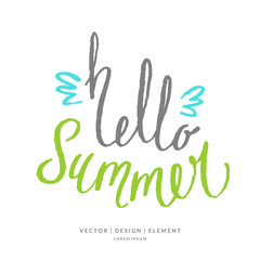 Modern hand drawn lettering word Hello summer.