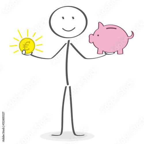 Strichmännchen Mit Münzen Und Sparschwein In Den Händen Stockfotos