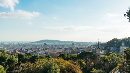 park guell from the top with Casa-Museu Gaudi on the right side