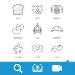 Croissant, pretzel and bread icons. Cupcake, cake and sweet donut linear signs. Pancakes, toast and bread rolls flat line icons. Video cam, book and magnifier search icons. Vector