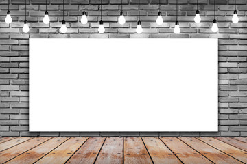 Blank white frame on brick wall and wooden with bulb lights lamp. nice brick show room with spotlights.