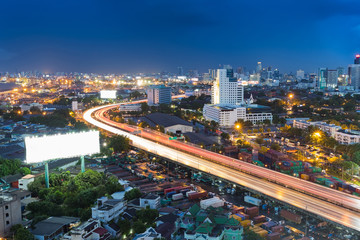 City highway road curved long exposure night view, with clear twilights sky background..