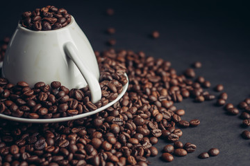 coffee beans, mug, drink