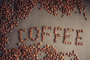 inscription from coffee beans