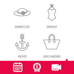 Achievement and video cam signs. Anchor, ladies handbag and swimsuit icons. Swimsuit linear sign. Calendar icon. Vector