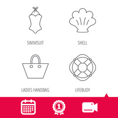 Achievement and video cam signs. Ladies handbag, shell and swimsuit icons. Lifebuoy linear sign. Calendar icon. Vector
