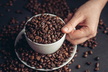 a cup of fragrant coffee, grains, a delicious drink
