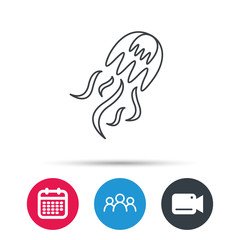 Jellyfish icon. Marine animal sign. Group of people, video cam and calendar icons. Vector