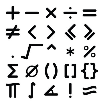 Black mathematical symbol icon set on white background