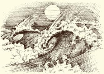 Huge sea waves etching, sun at the horizon