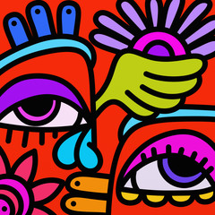 Spoed Foto op Canvas Klassieke abstractie colorful abstract eyes