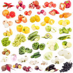 Set of different fruits and vegetables, isolated