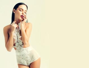pretty girl in white lingerie