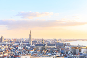 Foto op Aluminium Antwerpen View over Antwerp with cathedral of our lady taken