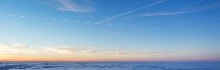 Beautiful sunset above clouds