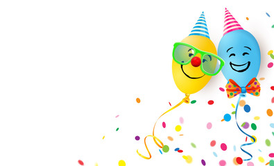 Zwei fröhliche Luftballon Gesichter mit Fasching Verkleidung und Konfetti