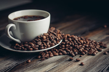 mug, saucer, fragrant coffee beans