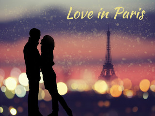 Postcard with silhouette of romantic lovers with eiffel tower on a background in Paris , France
