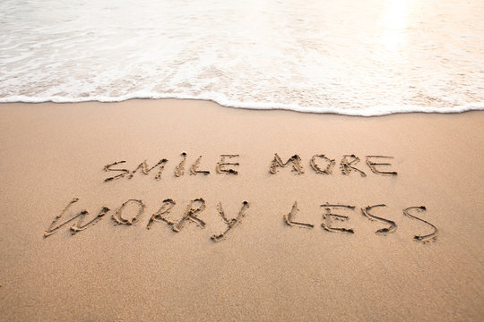 smile more worry less - positive thinking concept, optimism