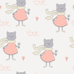 Cute cats with flowers colorful seamless pattern background