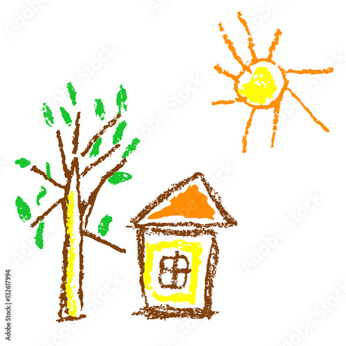 wax crayon like kid s hand drawn house sun tree isolated on white rh fotolia com Chalk Black and White Vector Free Chalk Black and White Vector Free