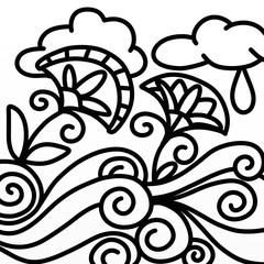 Spoed Foto op Canvas Klassieke abstractie flowers and rain in black and white