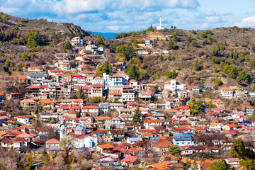 Panoramic view of mountain village of Pedoulas. Nicosia District, Cyprus.