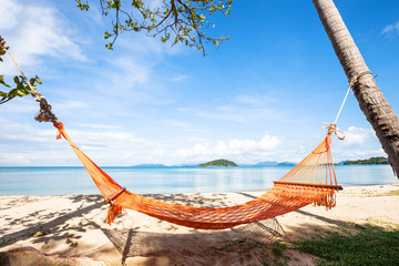 hammock on the beach in Thailand, summer holidays, relax concept