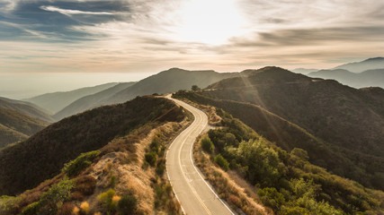 Curvy Mountain Road Sunset