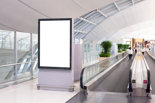 empty blank billboard or placard in airport of Bangkok, banner for advertisement