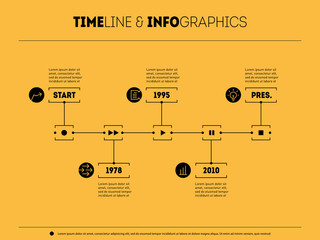 Timeline infographic with icons and buttoms - record, rewind, pl