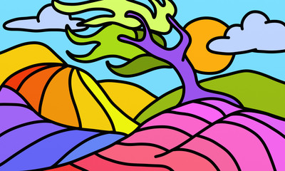Poster Classical abstraction twisted colorful tree