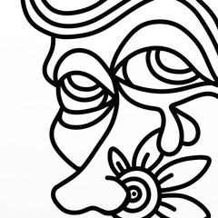 Spoed Foto op Canvas Klassieke abstractie ugly face in black and white