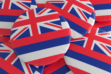 US State Buttons: Pile of Hawaii Flag Badges, 3d illustration