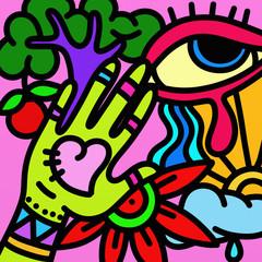 Foto auf AluDibond Klassische Abstraktion design with hand and eye