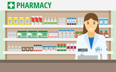 Woman pharmacist at the counter in a pharmacy