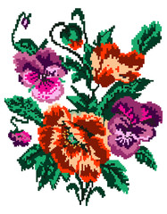 Color  bouquet of flowers (poppies and pansies) using traditional Ukrainian embroidery elements. Can be used as pixel-art.