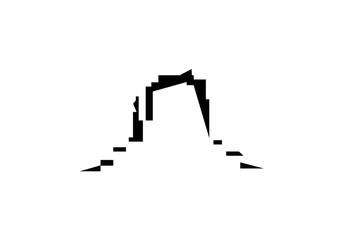 Company emblem.  Western rocks.