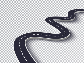 Winding Road Isolated Transparent Special Effect. Road way location infographic template. Vector EPS 10