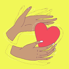 Hands holding red heart hand drawn vector illustration. Cute simple style minimalistic illustration with human hands and beautiful vivid pink heart. Romantic Valentines day card