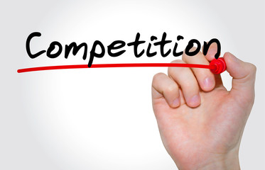 """Hand writing inscription """"Competition"""" with marker, concept"""