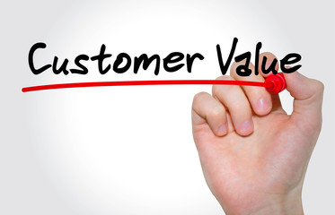"""Hand writing inscription """"Customer Value"""" with marker, concept"""