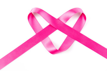 Pink ribbon in the shape of a heart