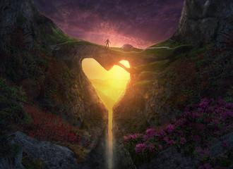 Spoed Foto op Canvas Chocoladebruin Nature Heart Bridge