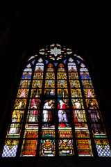 Stained glass at the Cathedral of Saint Michael and Saint Gudula