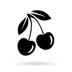 Cherry vector icon illustration