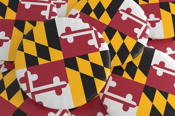 US State Buttons: Pile of Maryland Flag Badges, 3d illustration